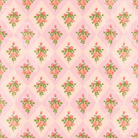 chabby: Retro wallpaper seamless pattern with roses