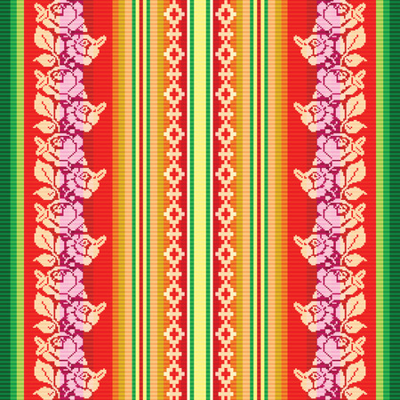 latin americans: South american colourful fabric pattern Illustration