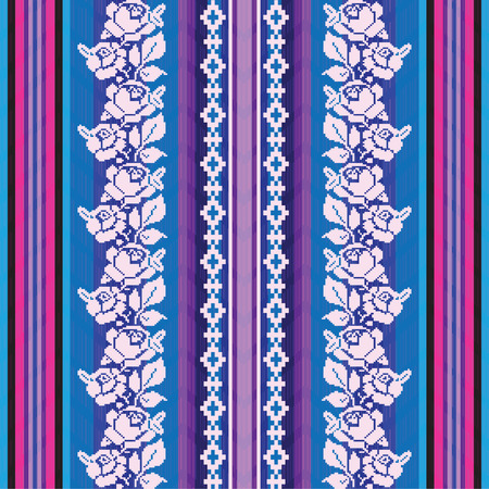blue blanket: Striped fabric pattern with roses