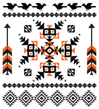 Ornamental composition in native american style with birds and arrows Illustration