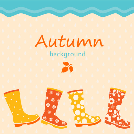 Autumnal background with colorful gumboots Vector