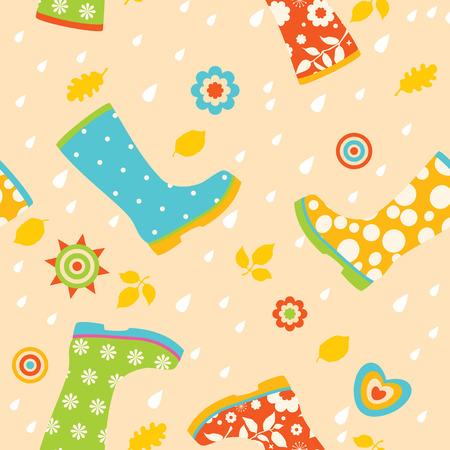 rubberboots: Bunte Gummistiefel nahtlose Muster Illustration