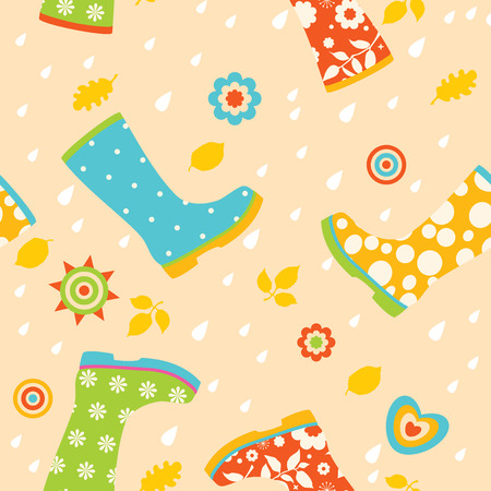 Colorful rubber boots seamless pattern