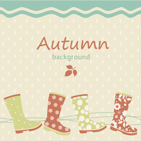 Autumn background with gumboots Vector