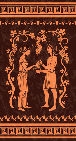 vases: Grape wine, illustration in ancient Greek style