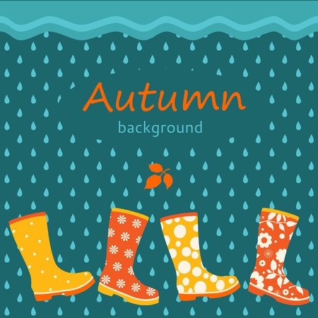 gumboots: Autumn background with colorful gumboots Illustration