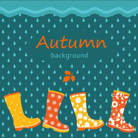 fond d'automne avec des bottes en caoutchouc colorées Vecteurs