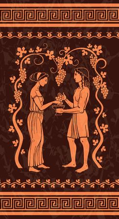 greek pottery: Grape wine, illustration in ancient Greek style