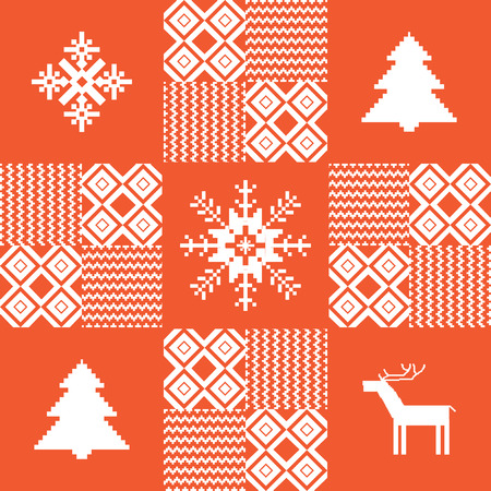 Christmas patchwork background in red Vector