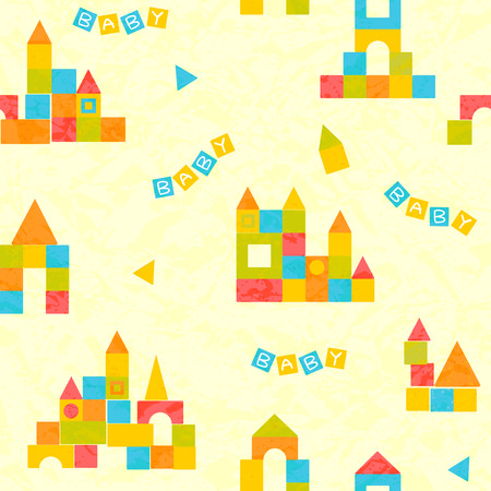 Baby pattern with castle of colorful blocks Vector