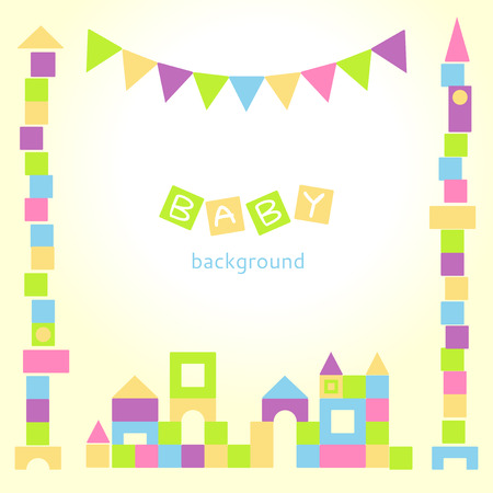 playroom: Baby background with colorful blocks castle Illustration