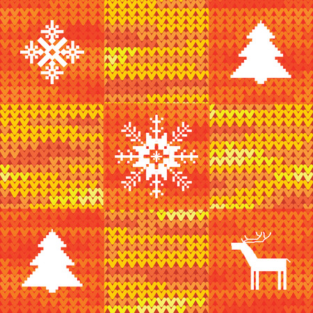 Christmas knitted background in red Vector