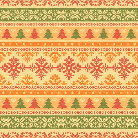 Traditonal christmas knitted background seamless pattern Vector