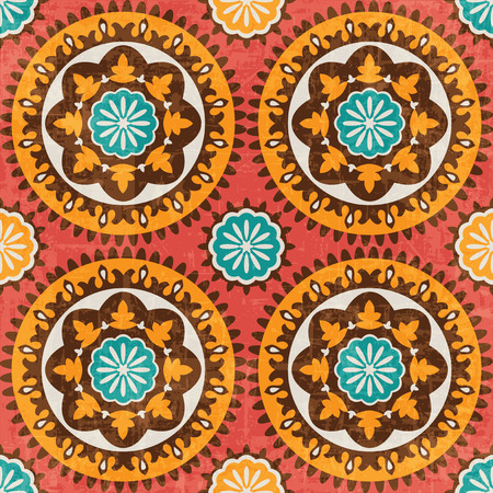 uzbekistan: Ethnic pattern, suzani, vector seamless background