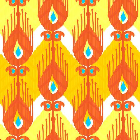Ikat fabric pattern Vector