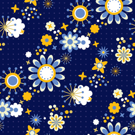 Seamless fabric pattern with flowers and polka dots