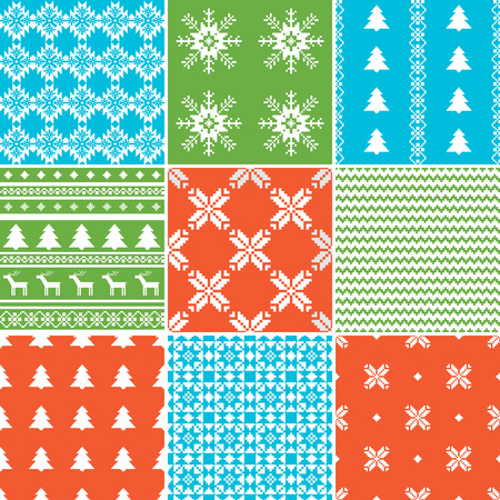 christmas backgrounds: Set of traditional Christmas backgrounds seamless patterns