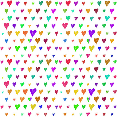 multycolored: Hand drawn multycolored hearts seamless pattern Illustration