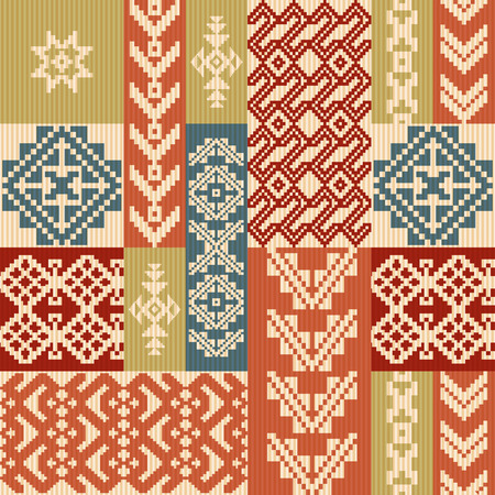 Geometric patchwork ornamental ethnic pattern