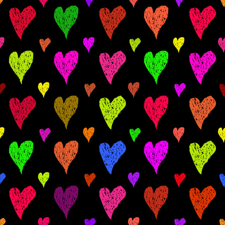 multycolored: Hand drawn multycolored hearts at black background seamless pattern