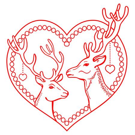 red deer: Pair of deer in heart frame
