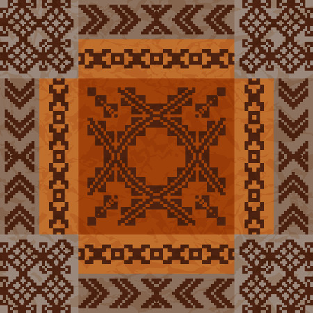 earthy: Ethnic ornament carpet design seamless pattern Illustration