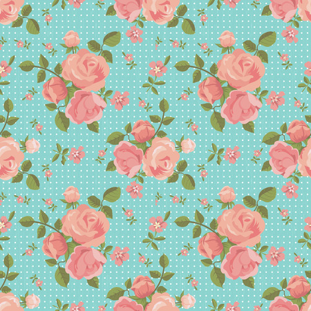 scrap: Vector seamless pattern of blooming roses with polka dot background for design and scrap booking