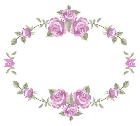 白い背景で隔離のバラの花のフレーム  イラスト・ベクター素材