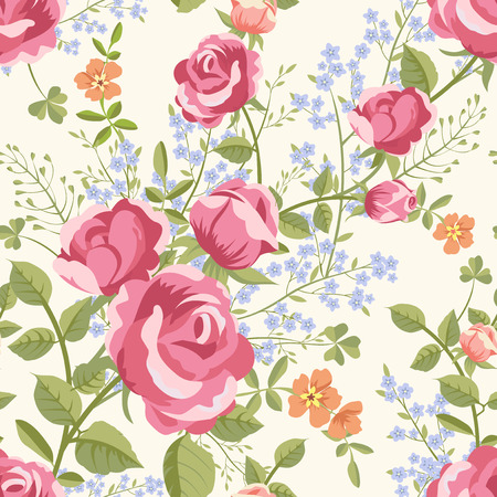 Seamless pattern with bouquets of flowers Illusztráció