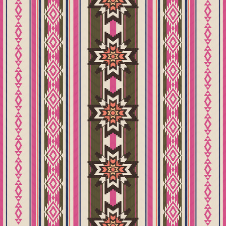 antique fashion: Striped ornamental ethnic seamless pattern Illustration