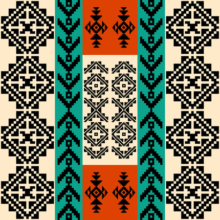 Abstract geometric background with traditional ethnic motifs of native american