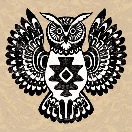Decorative owl, wild totem animal, Native North American art inspired