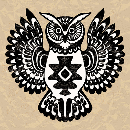 Decorative owl, wild totem animal, Native North American art inspired