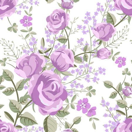 roses petals: Floral seamless vintage rose pattern Illustration