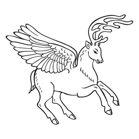 mythical: Winged deer mythical beast Illustration