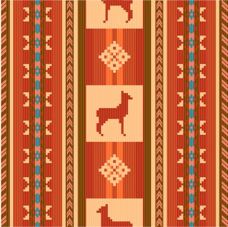 ecuador: Ornamental ethnic fabric pattern with lamas Illustration