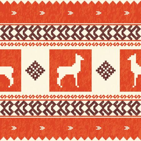 ecuador: Ethnic textile pattern with lamas Illustration