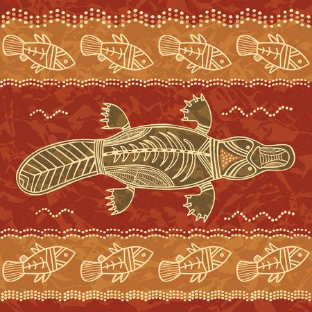 Platypus en vis; een tribal patroon in een Australische inboorling stijl