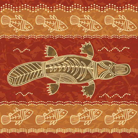 aborigen: Platypus y pescado; un patr�n tribal en un estilo aborigen australiano