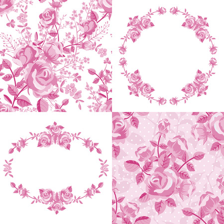 Set of roses floral patterns and frames in pink
