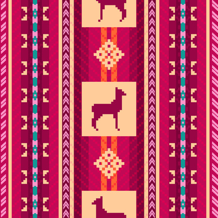american culture: Ethnic fabric seamless pattern with lamas