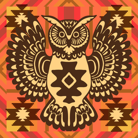 native bird: Tribal background with owl