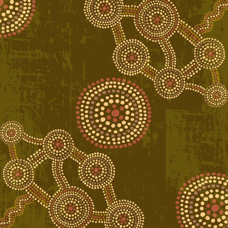 Vector abstract background in australian aboriginal art dot painting style