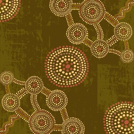 aboriginal art: Vector abstract background in australian aboriginal art dot painting style