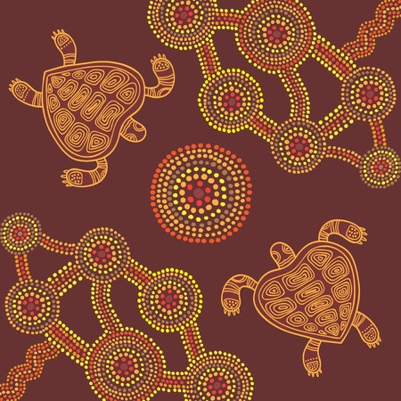 Vector background aboriginal style dot painting design with turtles Ilustracja
