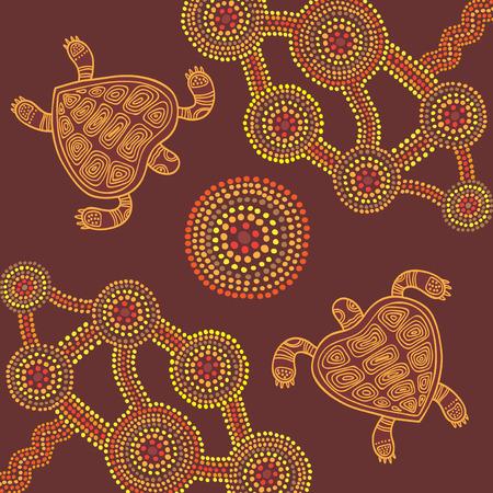 aborigen: Vector de fondo estilo aborigen diseño pintura del punto con las tortugas Vectores
