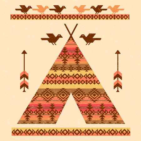 wigwam: Wigwam teepee birds and arrows decorative vector illustration native american style