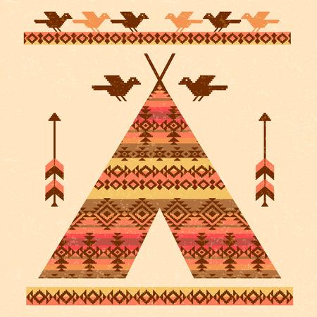 teepee: Wigwam teepee birds and arrows decorative vector illustration native american style