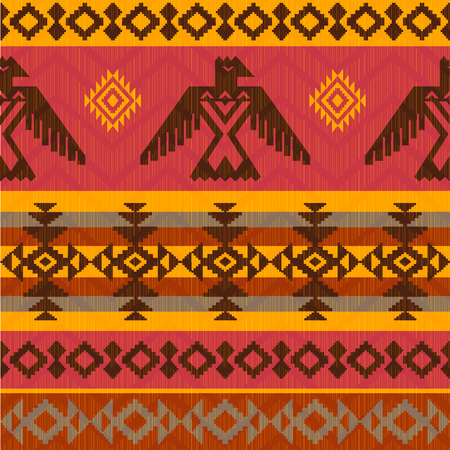 Eagles ethnic style seamless pattern on tribal native american style Vectores