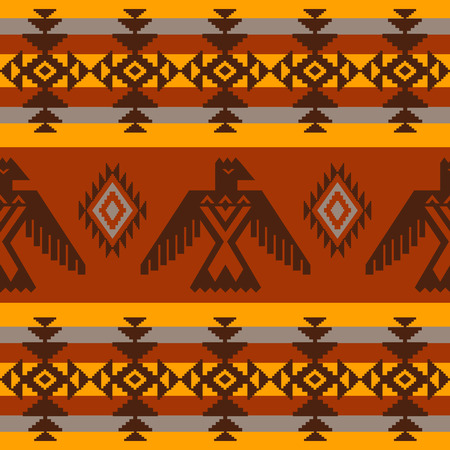 Ethnic seamless pattern on tribal native american style with eagles and traditional elements